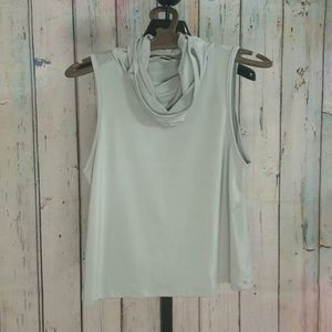 Blue Blush Tops - Sleeveless Cropped Top w/ Turtleneck Mask